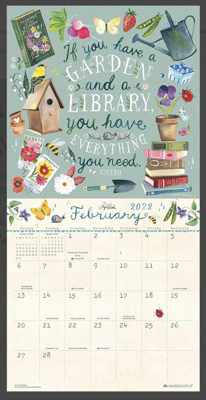 Katie Daisy: Flowers are Love's Truest Language 2022 Wall Calendar, 12 months
