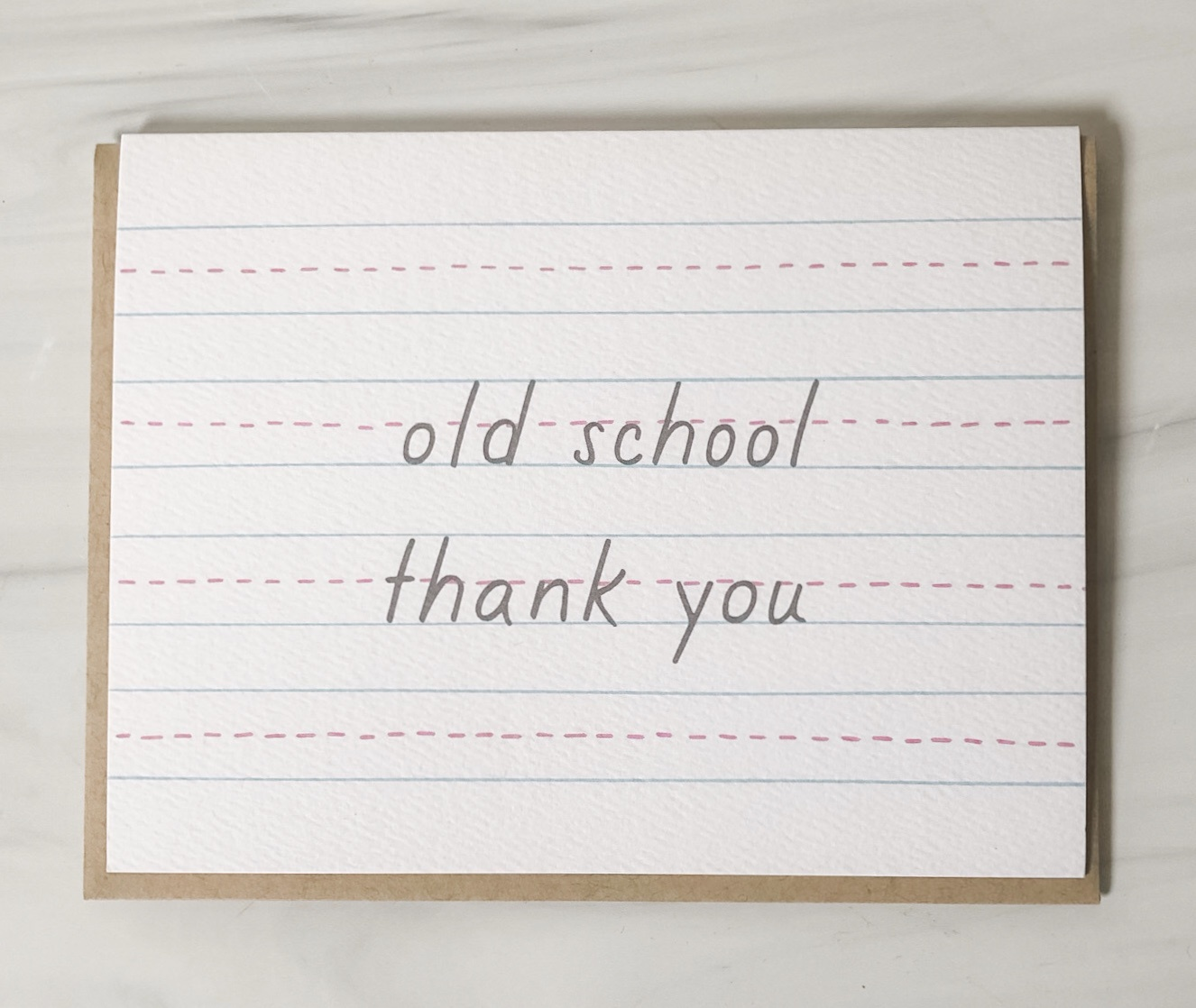 Old School Thank You, blank greeting card