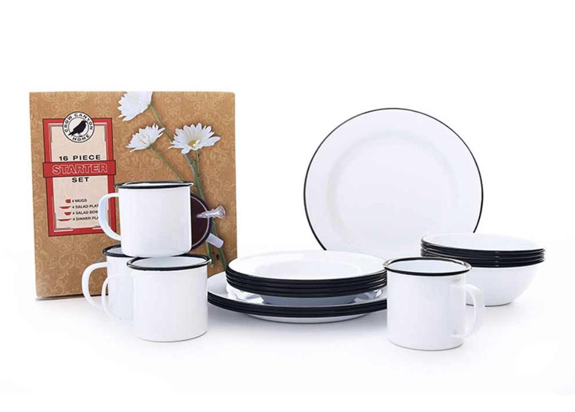 Dinnerware Starter Set, 16 piece Enamelware