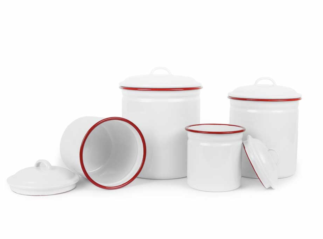 Enamelware Canisters, set of 4