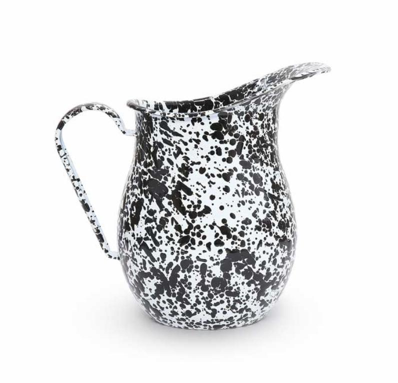 Enamelware Pitcher, Black & White Marble