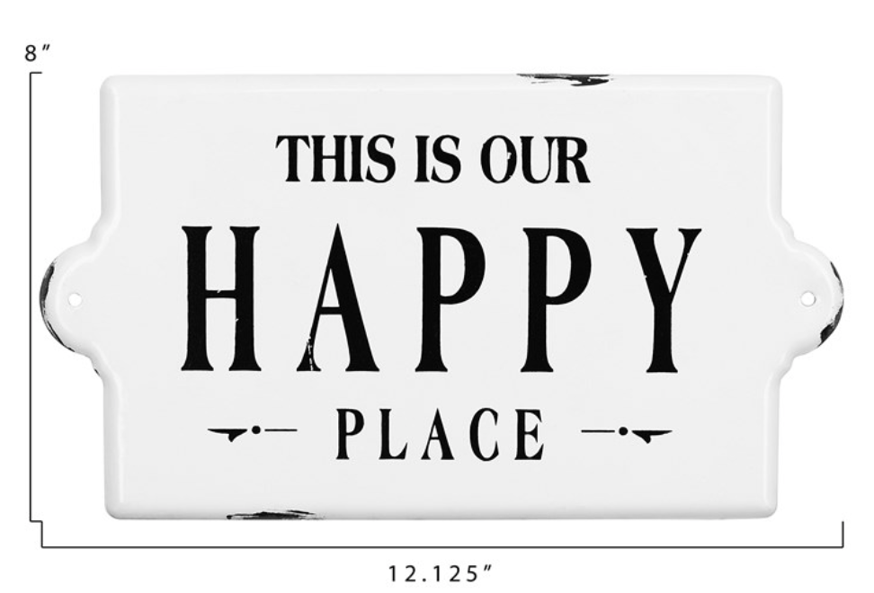 """""""Our Happy Place"""" Enameled Sign"""
