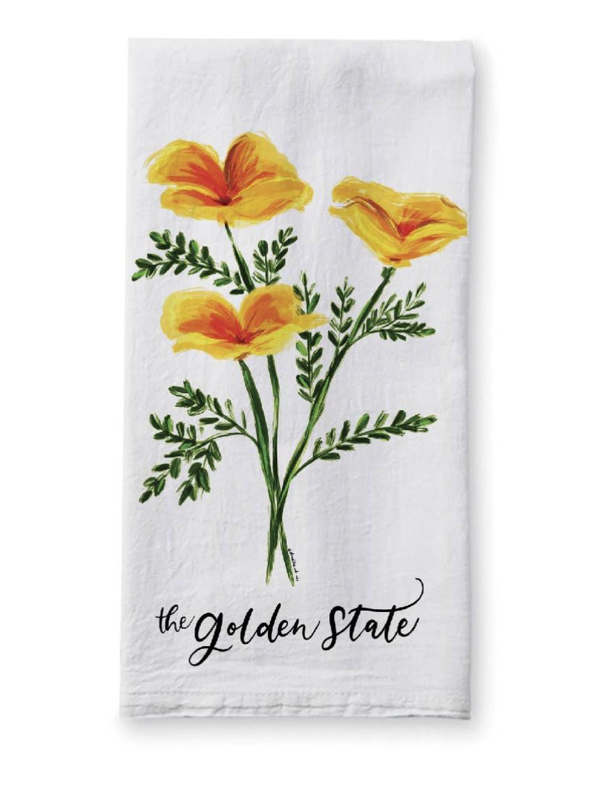 Golden State Poppies, Tea Towel