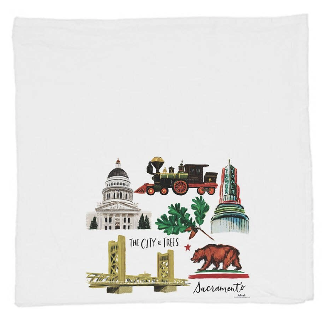 Sacramento Collage, Tea Towel
