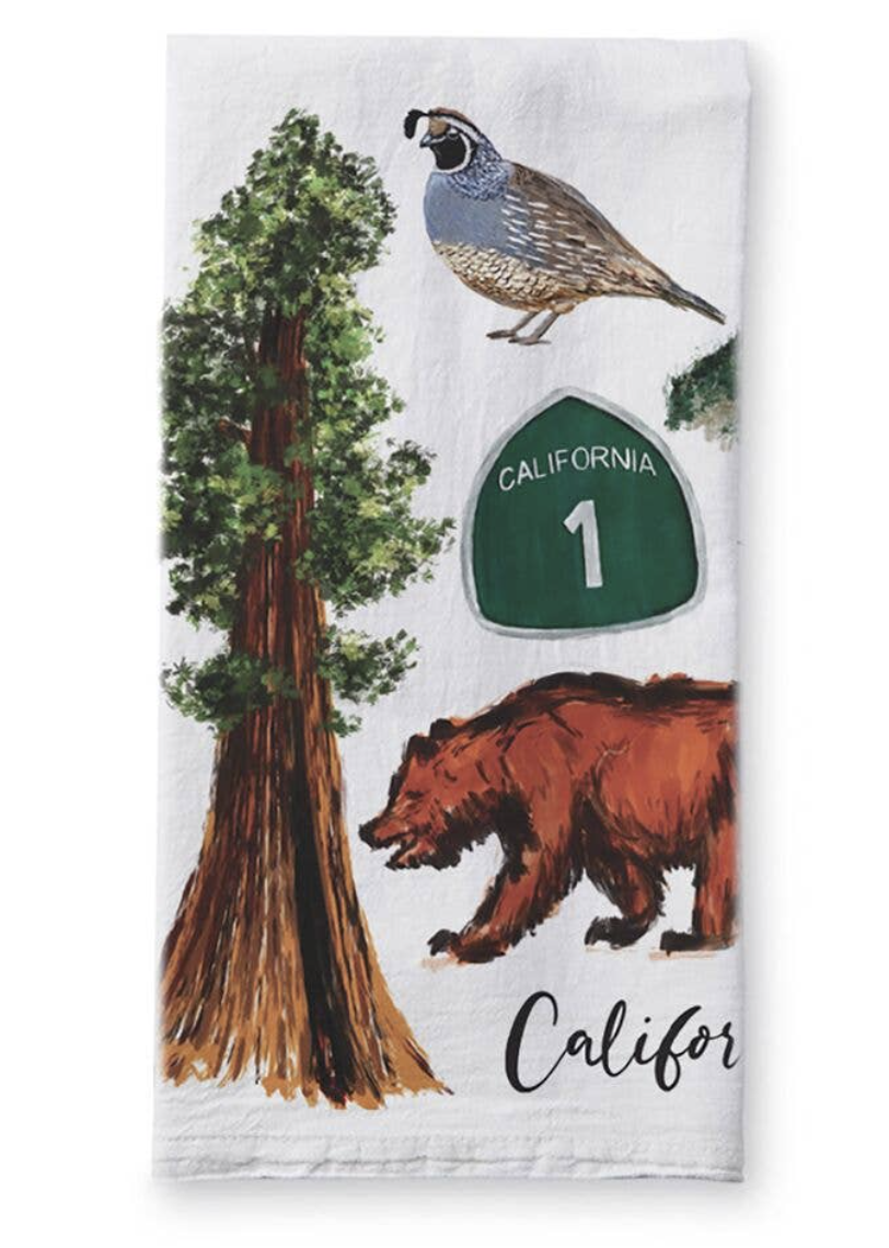 California Collage, Tea Towel