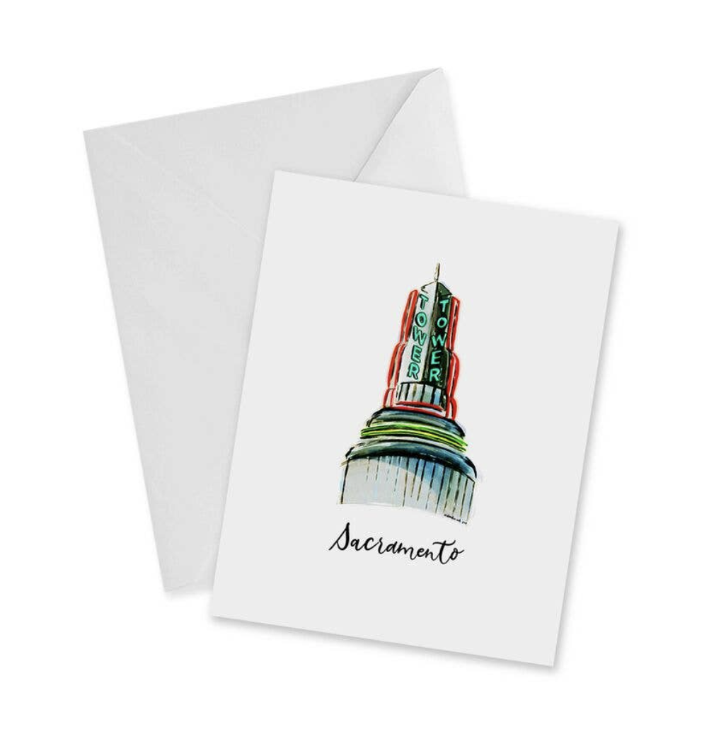 Sacramento Tower Theater, blank greeting card