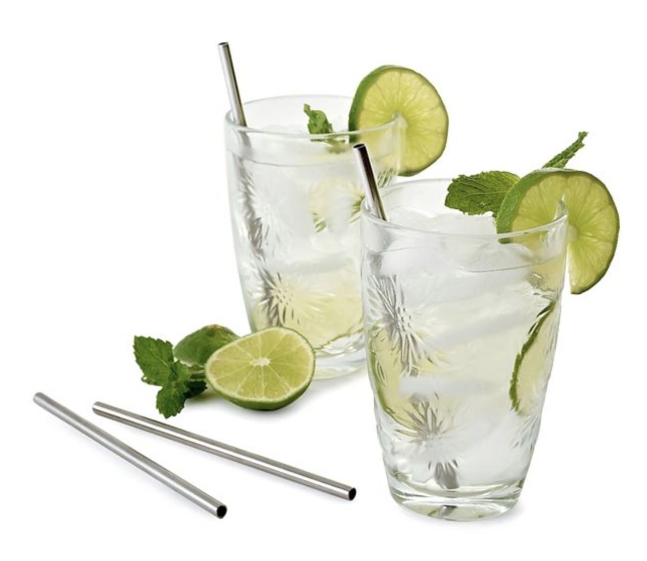 """SS Cocktail Straws, 6"""" set of 4 with cleaning brush"""