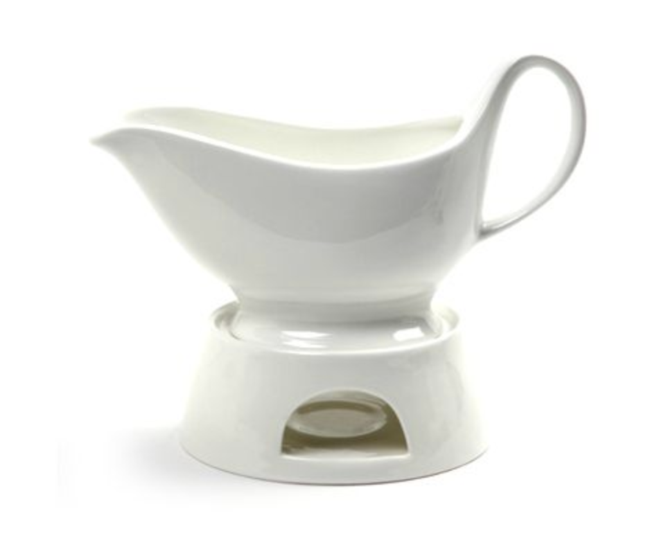 Porcelain Sauceboat with Candle Warmer