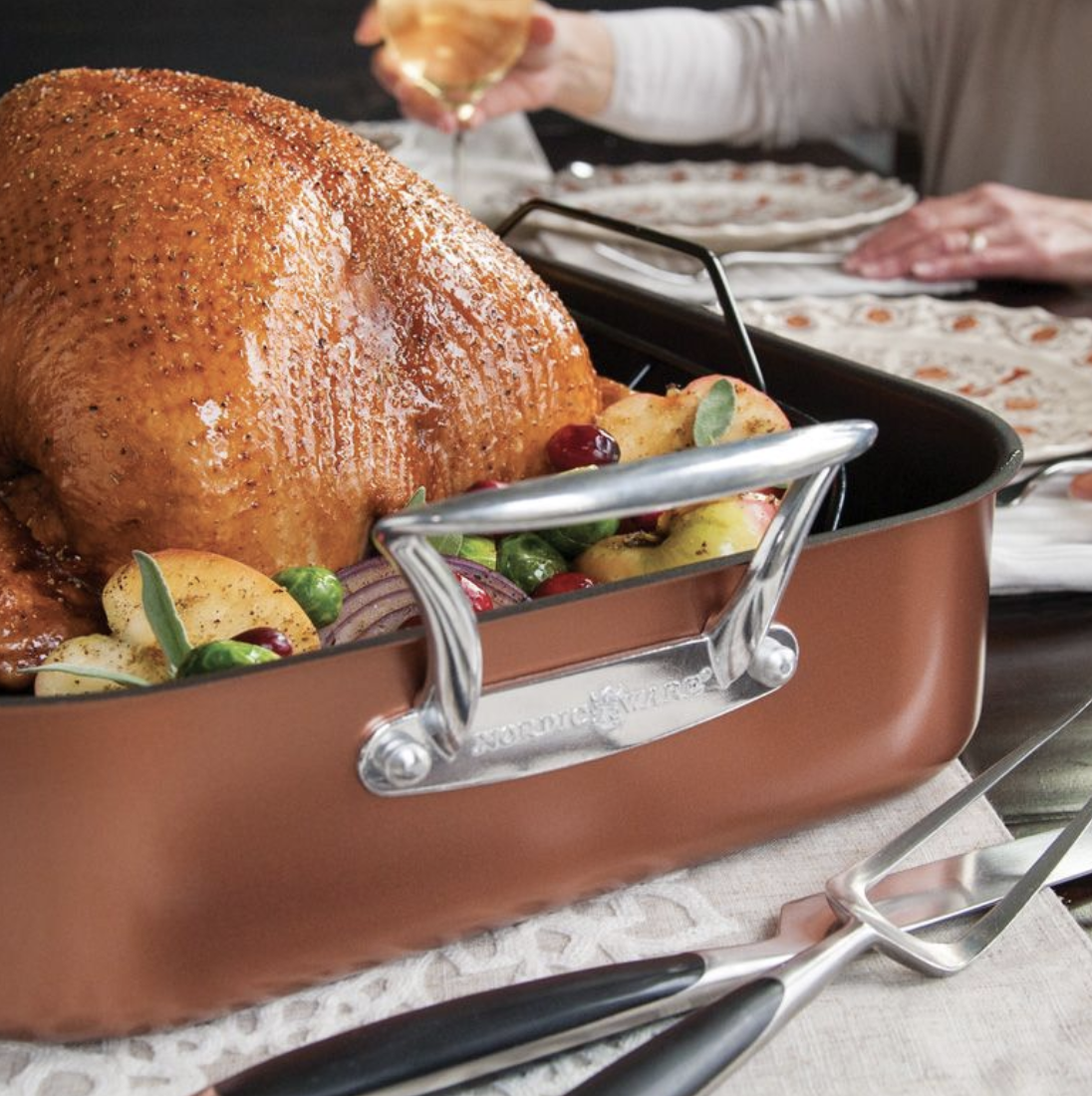 XL Copper Turkey Roaster with Rack