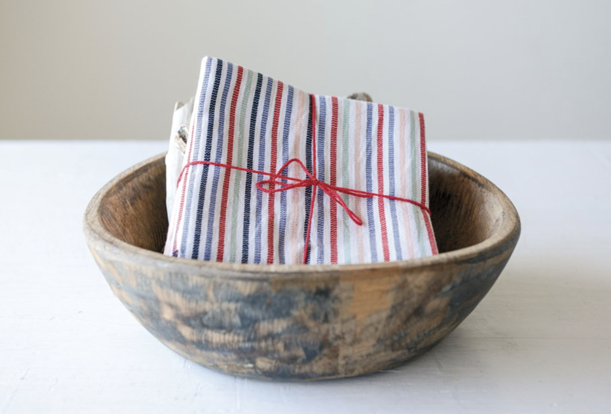 Cotton Striped Napkins, 2 designs; set of 4
