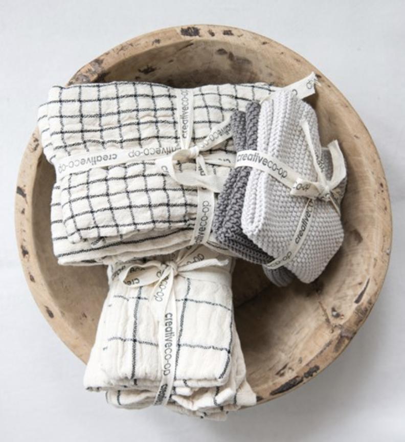 Cotton Napkins, Stripes & Plaids, 2 designs; set of 4