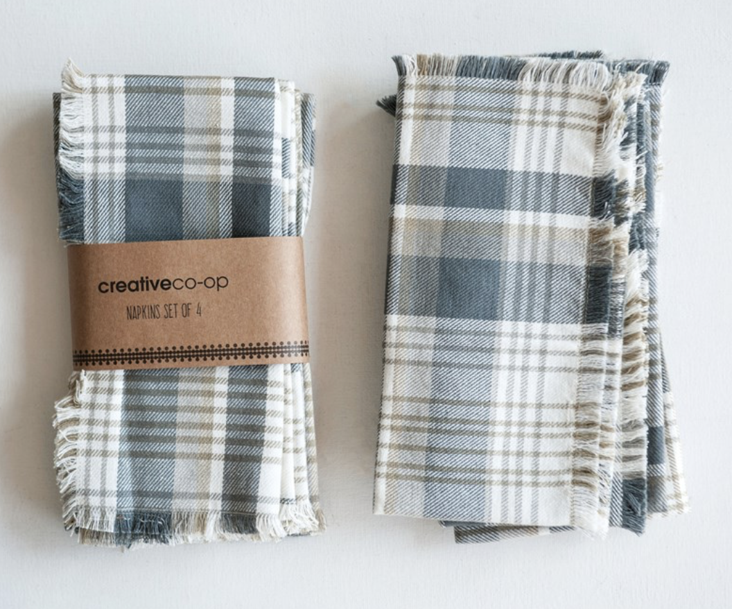 Square Cloth Napkins, Grey & Tan Plaid; set of 4