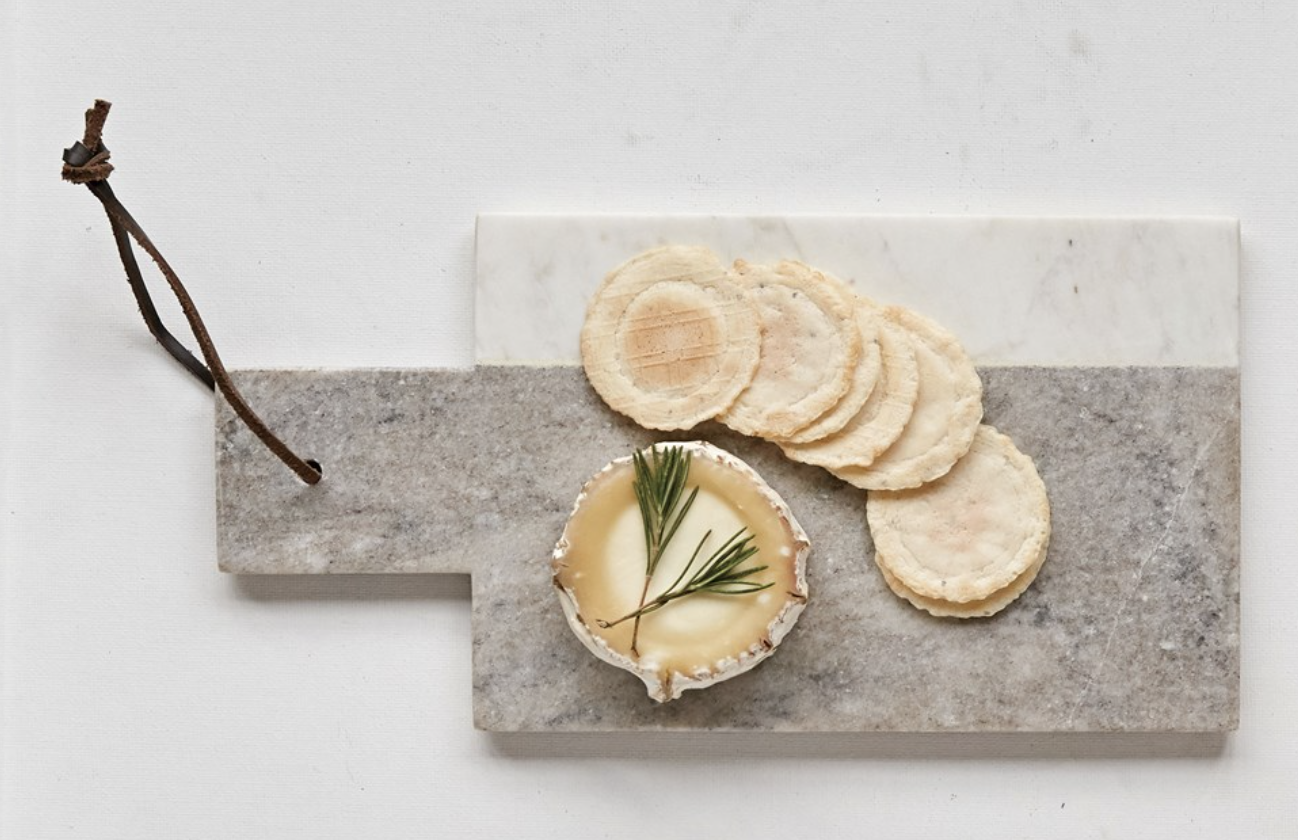 """Grey & White Marble Cheese Board with Leather Tie, 12""""x6"""""""