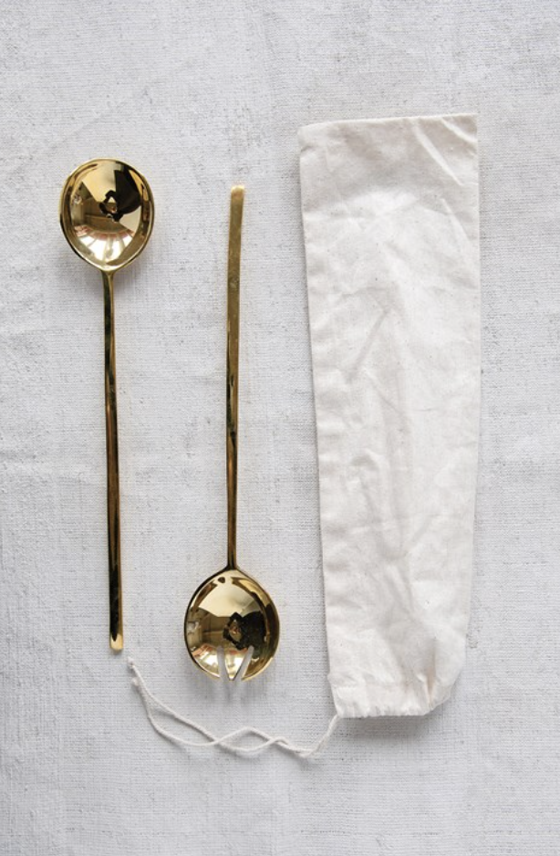 Brass Salad Servers in a Drawstring Bag