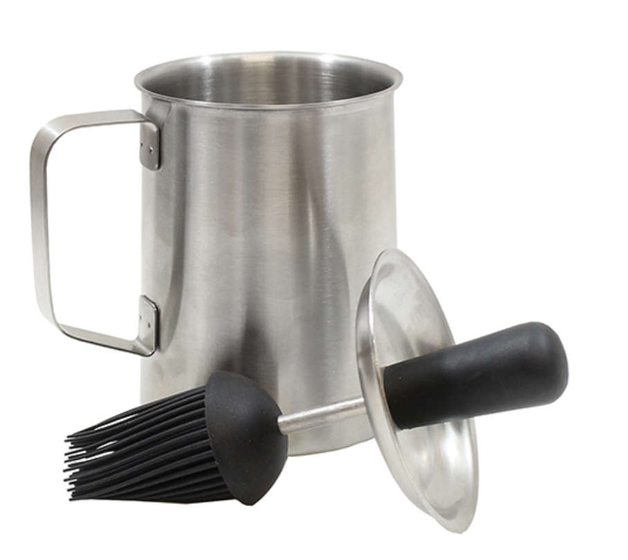 Stainless Steel BBQ Sauce Pot, with Basting Brush