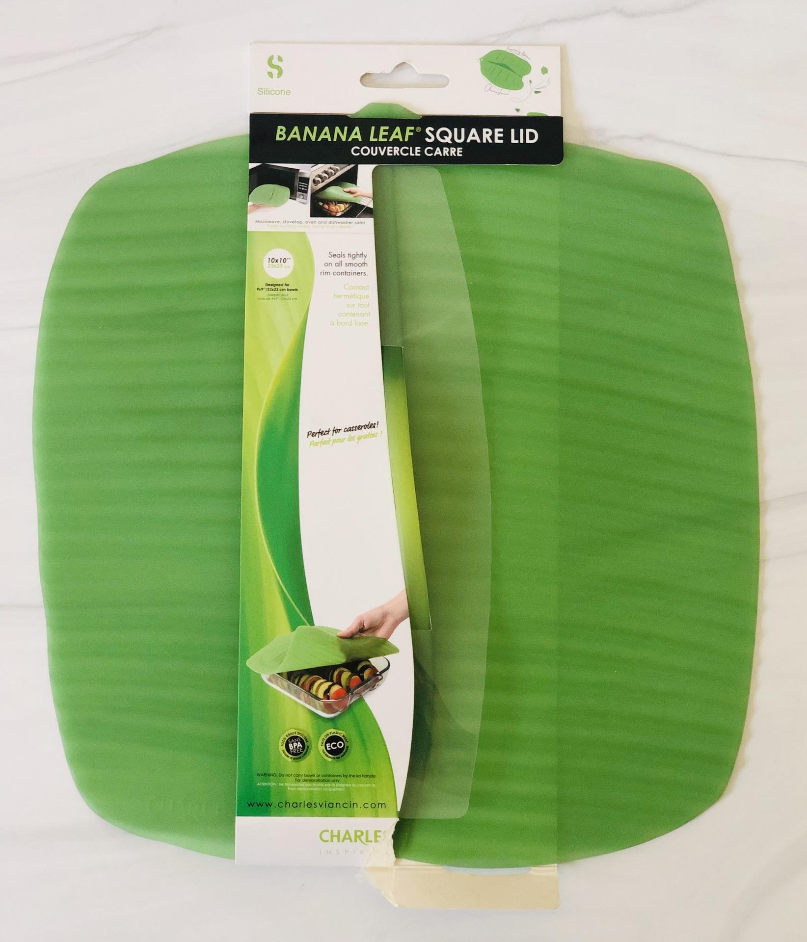 "Banana Leaf Silicone Lid, 10""x10"" square"