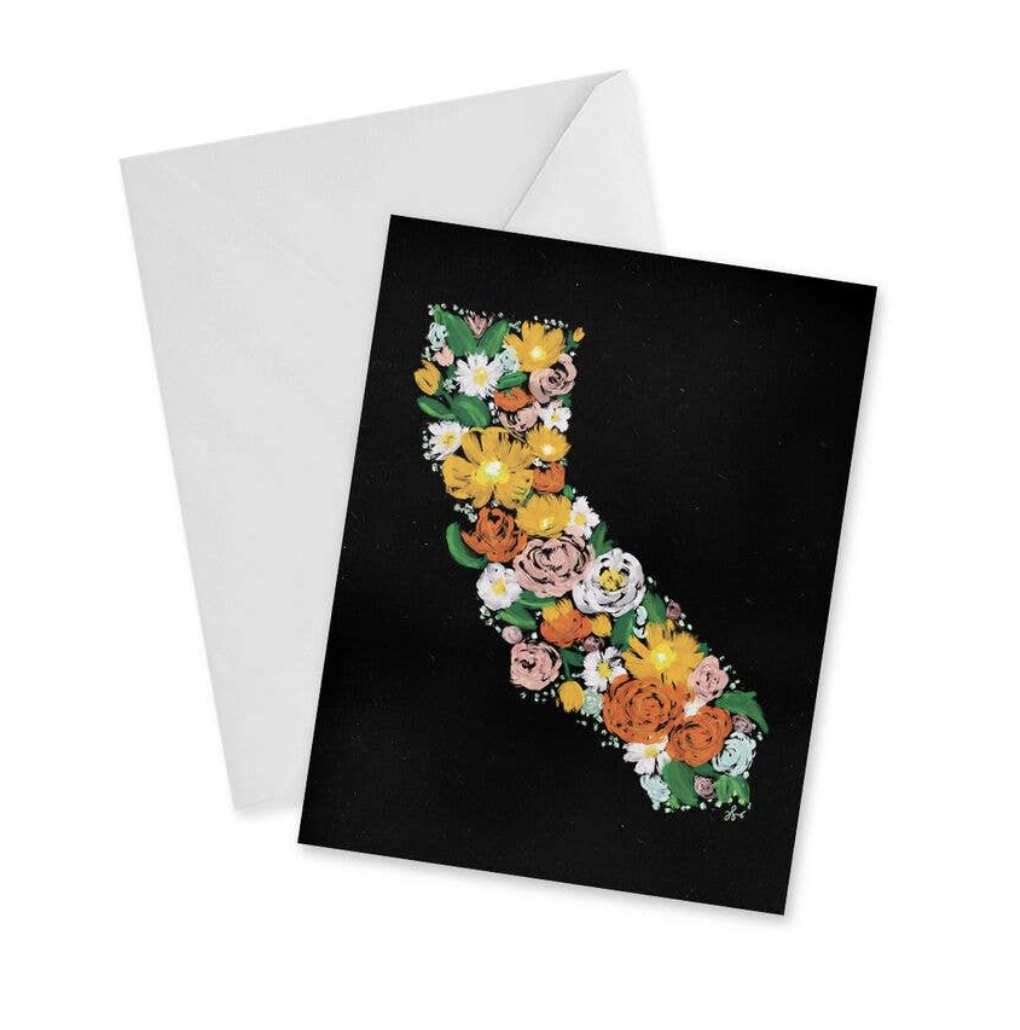 California Floral, blank greeting card