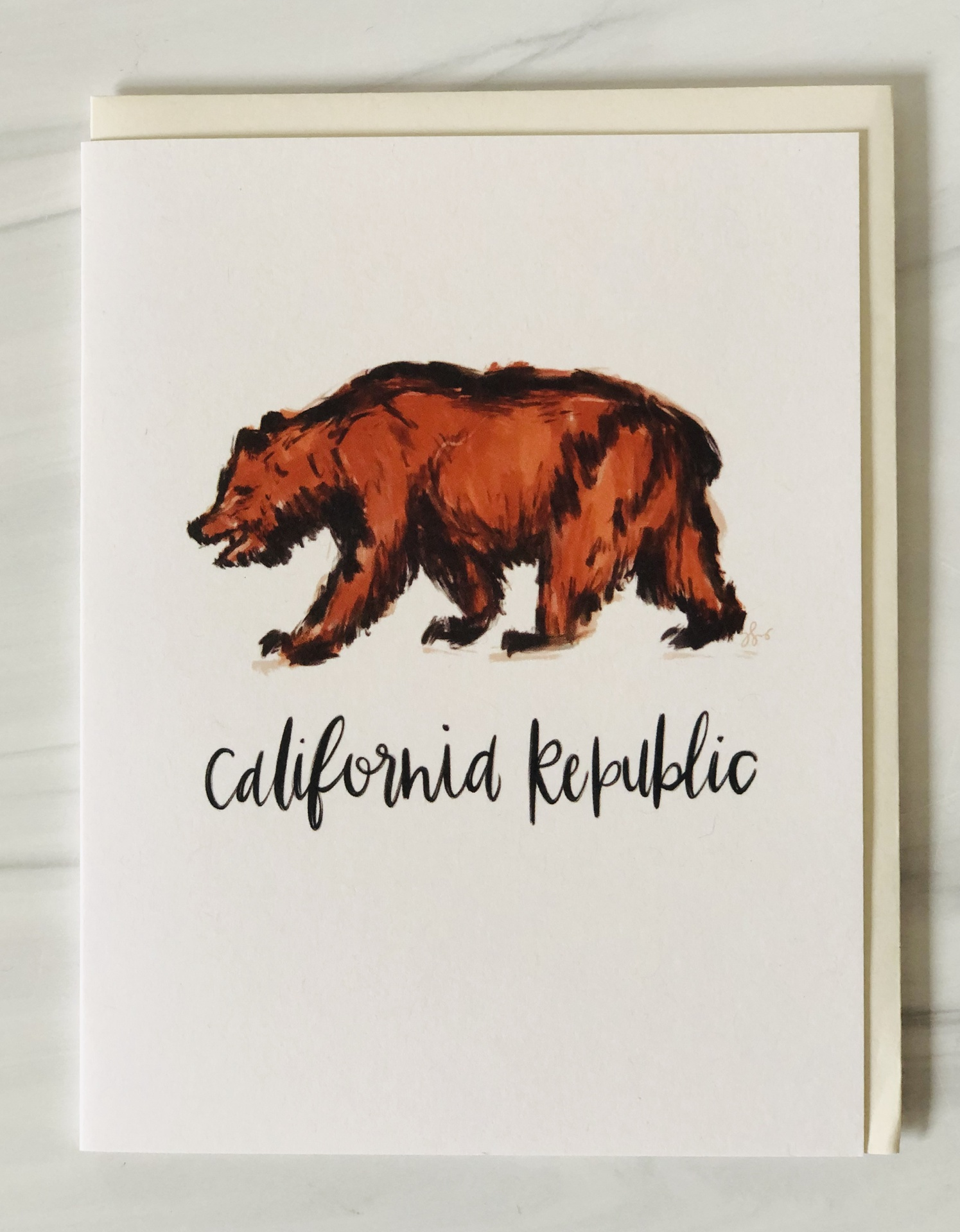 """California Republic"" Bear, blank greeting card"
