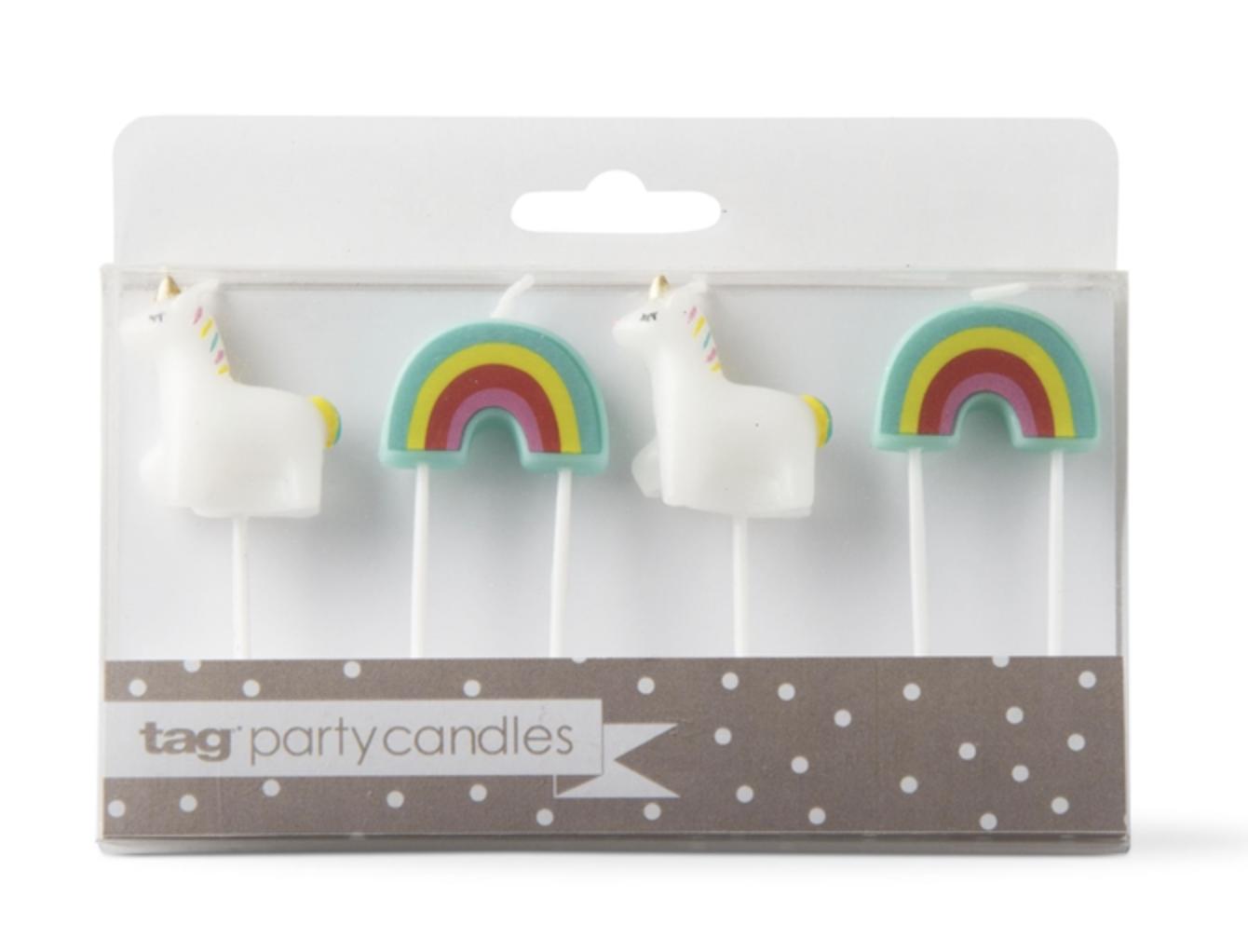 Party Candles: Rainbow & Unicorns