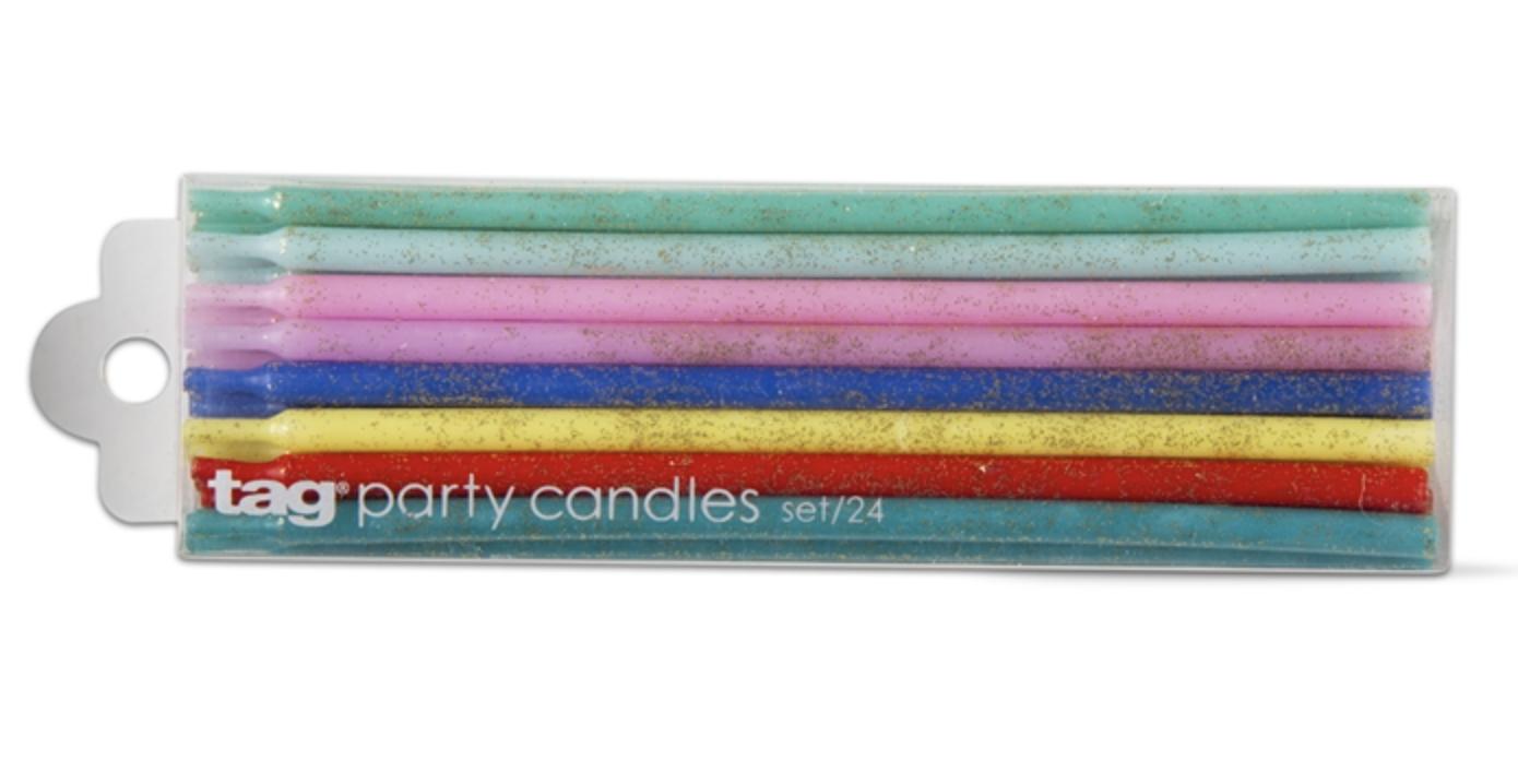 Tall Glittery Birthday Candles, set 24