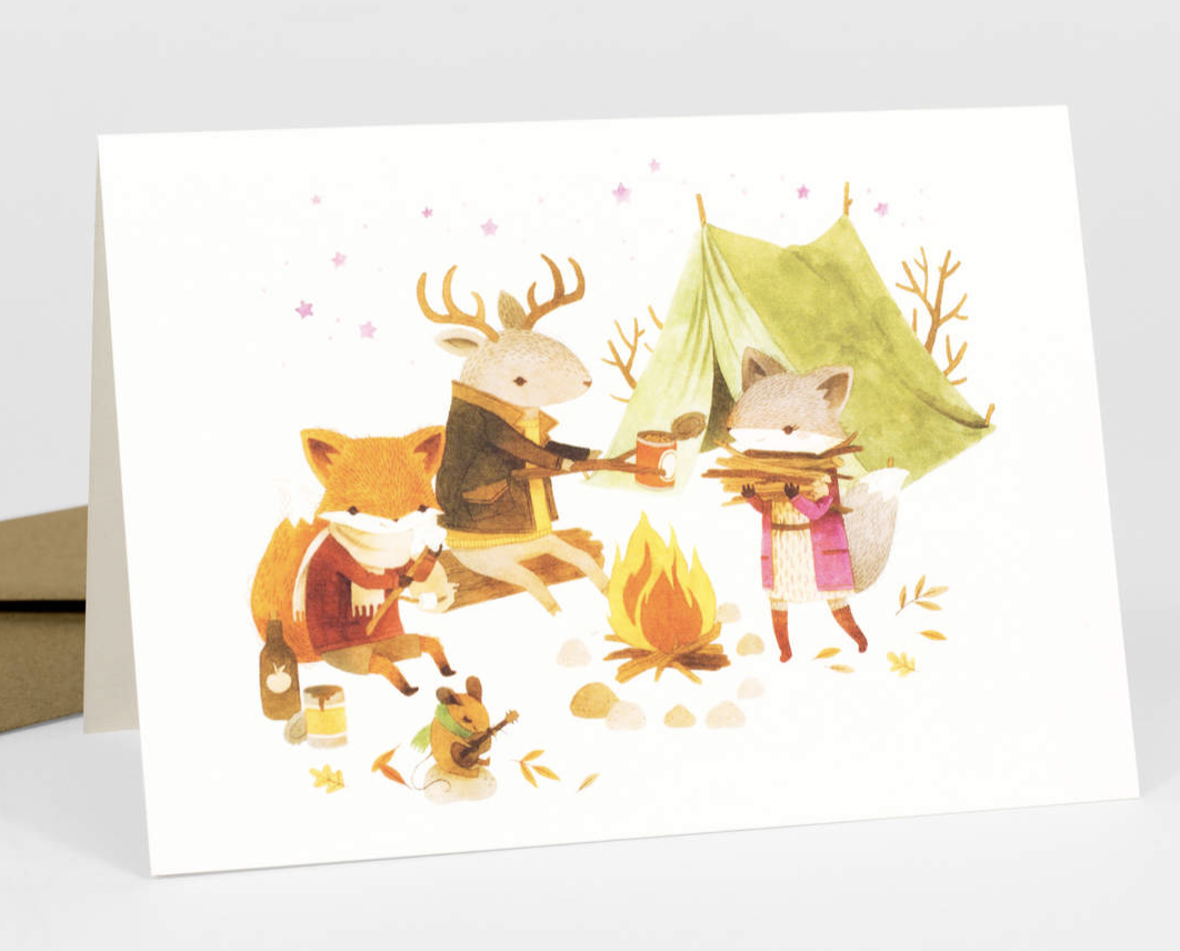 """Barefoot Critters """"Campfire Critters,"""" Blank Greeting Card"""