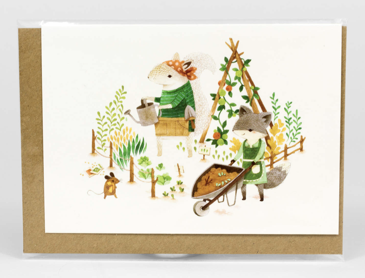 """Barefoot Critters """"Gardening Critters,"""" Blank Greeting Card"""