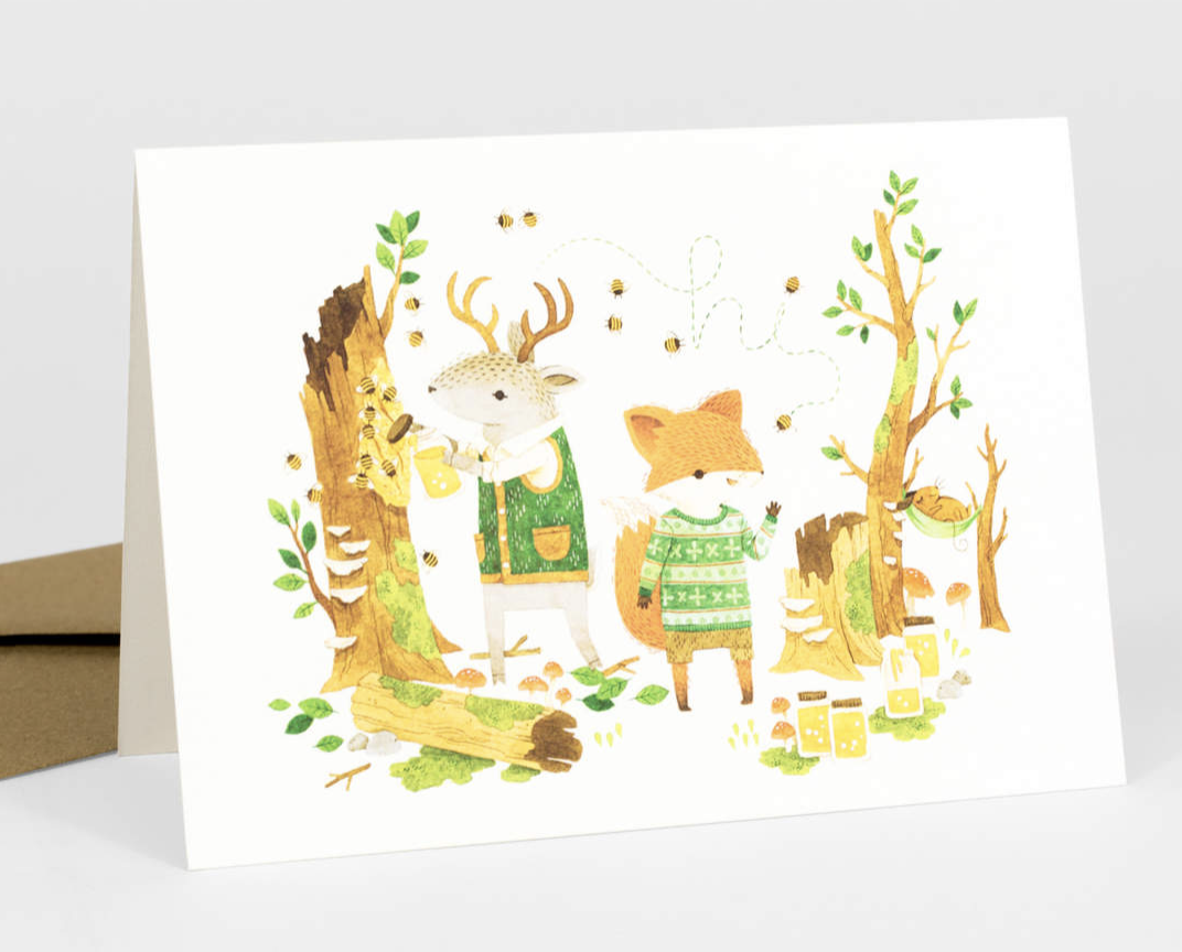 """Barefoot Critters """"Gathering Honey,"""" Blank Greeting Card"""