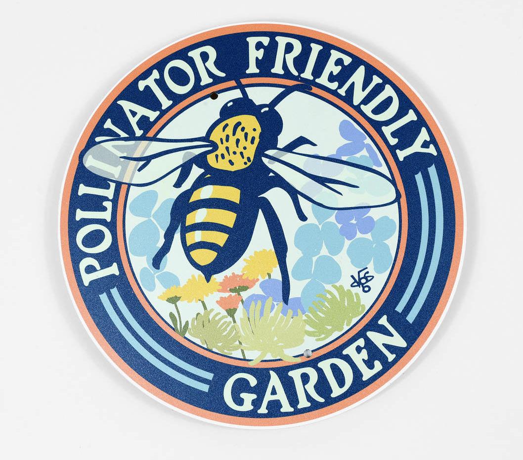 """""""Pollinator Friendly Garden"""" Bee, Metal Garden Sign 9"""""""