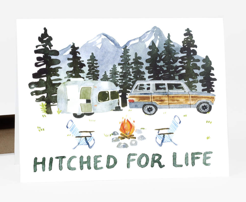 """""""Hitched for Life"""" Blank Greeting Card"""