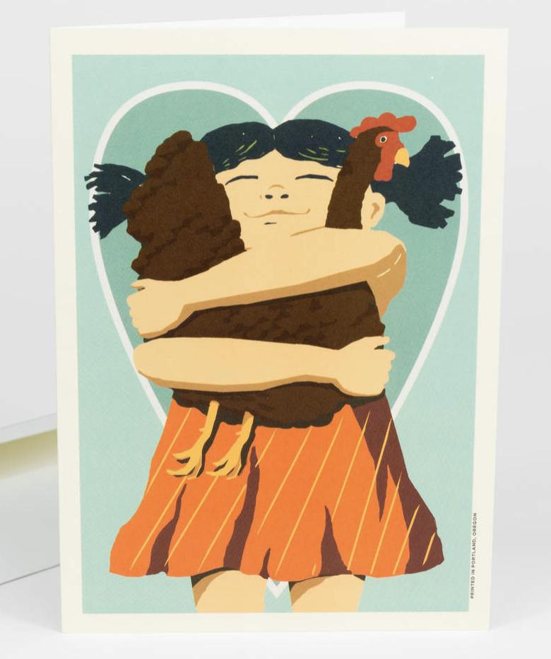 Girl Heart Hen, Blank Greeting Card