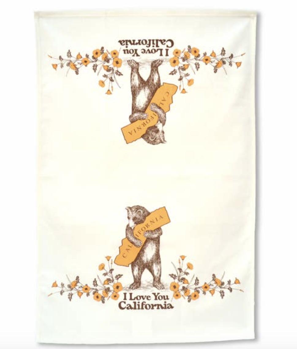 California Bear & Poppy Tea Towel