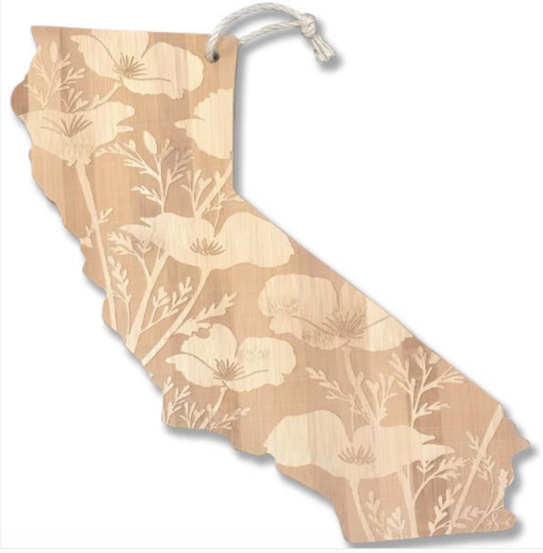 California Poppy Cutting Board, Bamboo