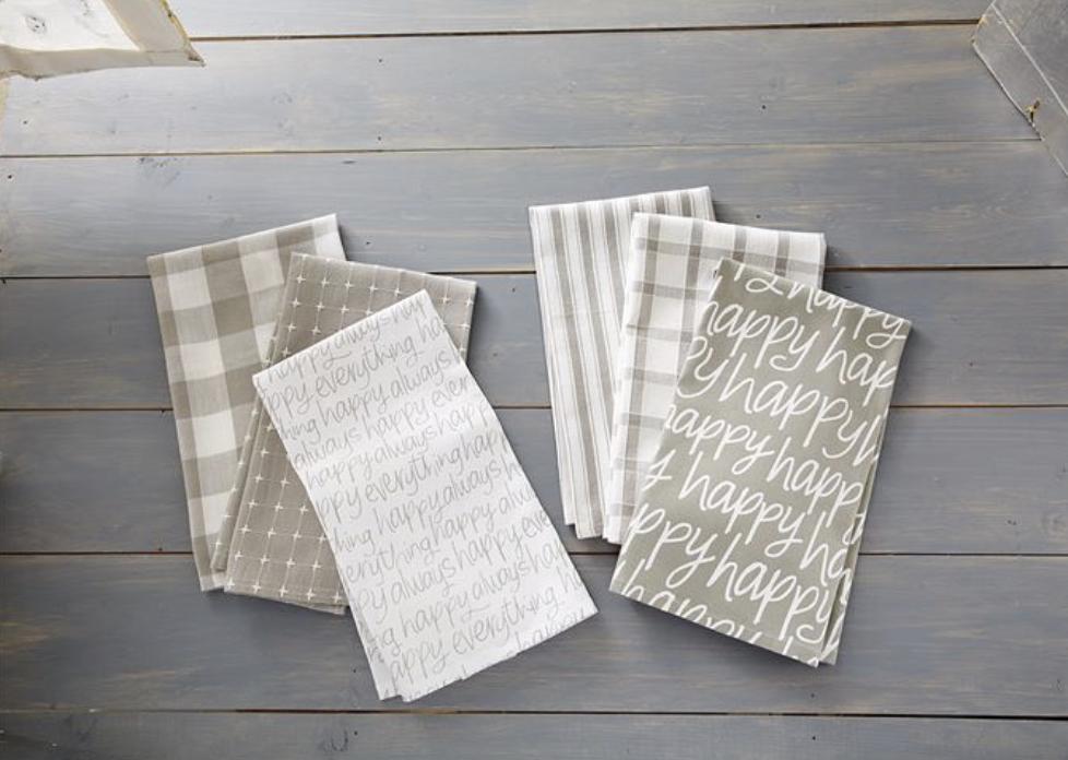 Happy Dish Towel Set, Grey & White, set/3--CHOOSE DESIGN