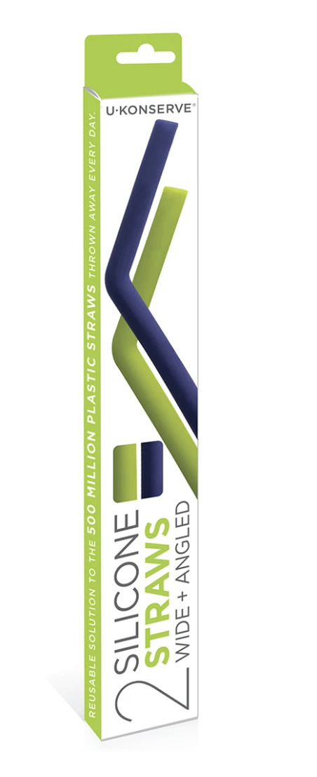 Silicone Straw, 2 pack (Lime+Navy)