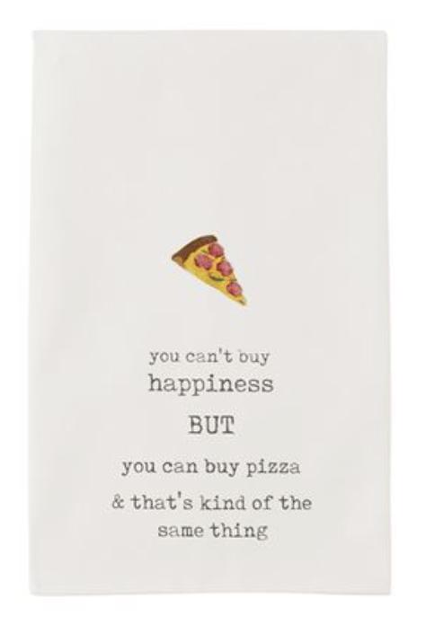 'Pizza Happiness' Tea Towel