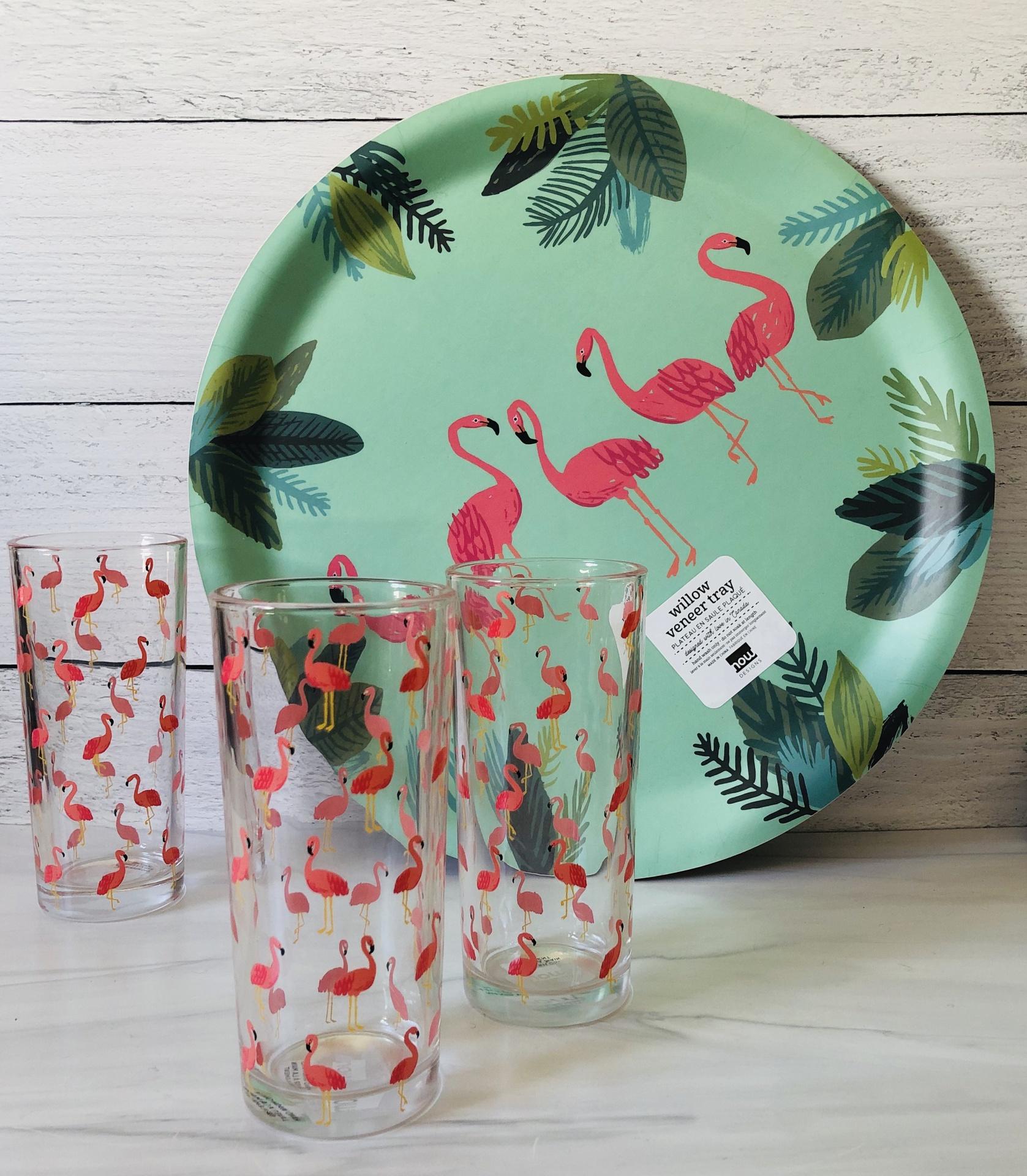 "Flamingos Willow Veneer Tray, 14.5"""