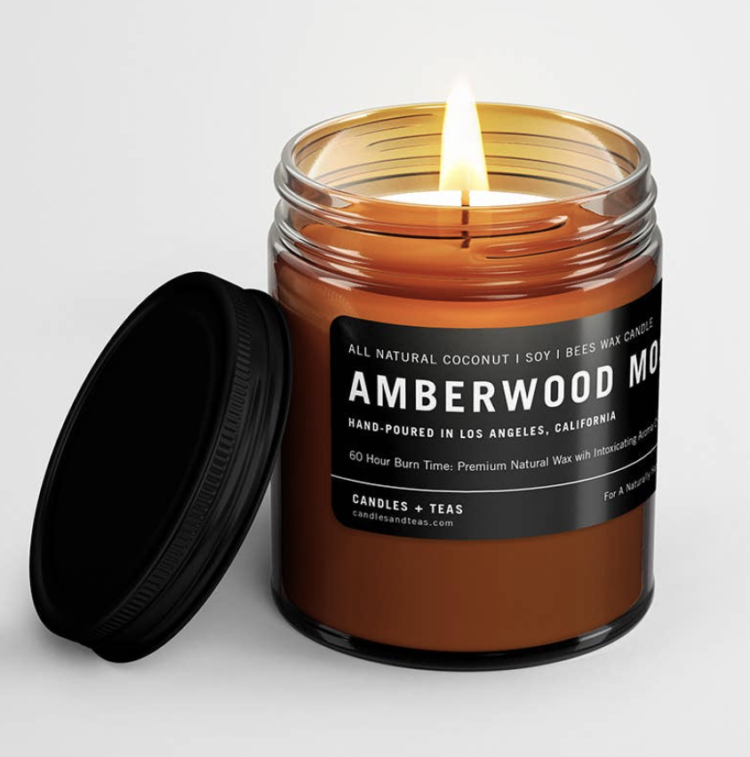 Amberwood Moss: All Natural Coconut Soy Wax Candle