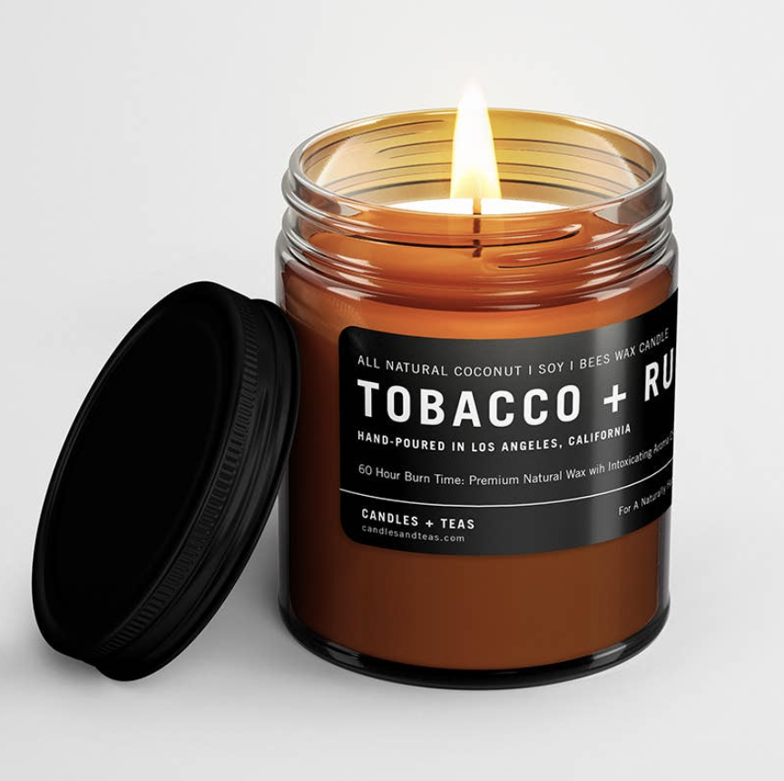 Tobacco & Rum: All Natural Coconut Soy Wax Candle