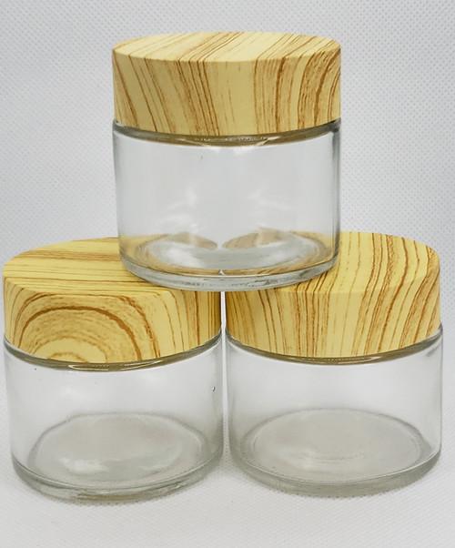 2oz Clear Glass Jar- Wood-Look Child-Resistant Plastic Cap