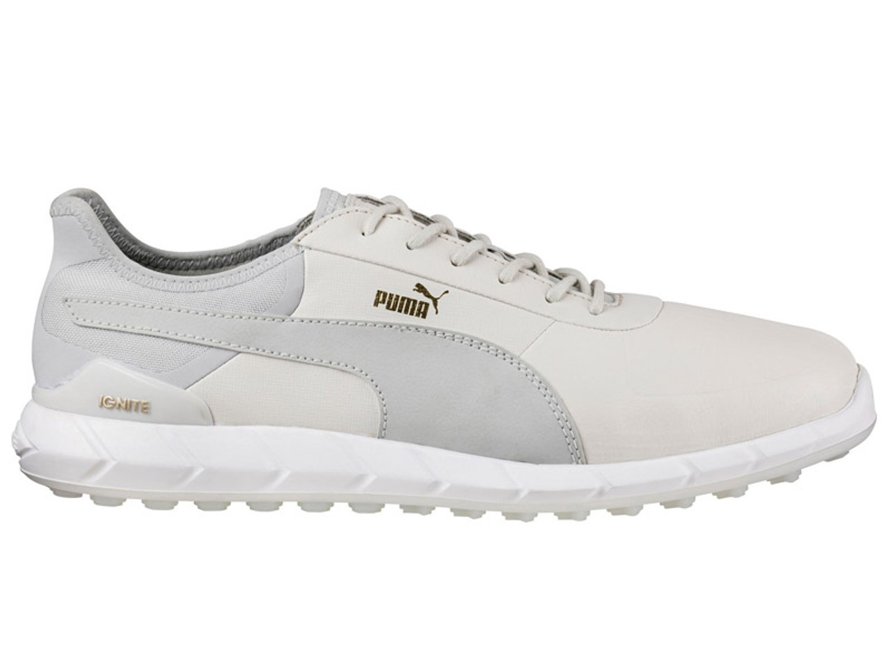 Puma Ignite Spikeless Lux Golf Shoes WhiteVaporous Grey