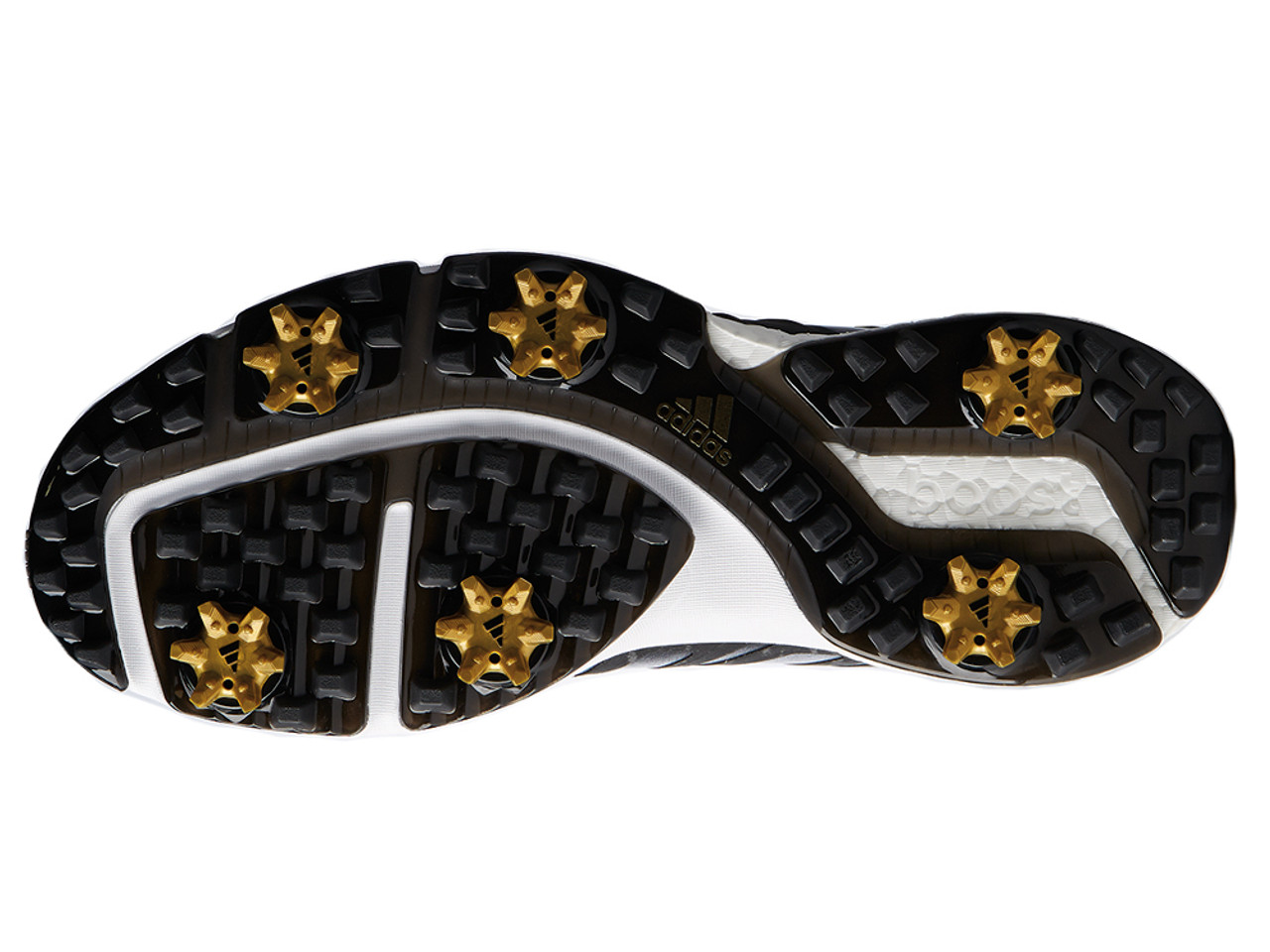 new product e0985 e6d88 Adidas Powerband BOA Boost Golf Shoes - Core Black Gold Met.