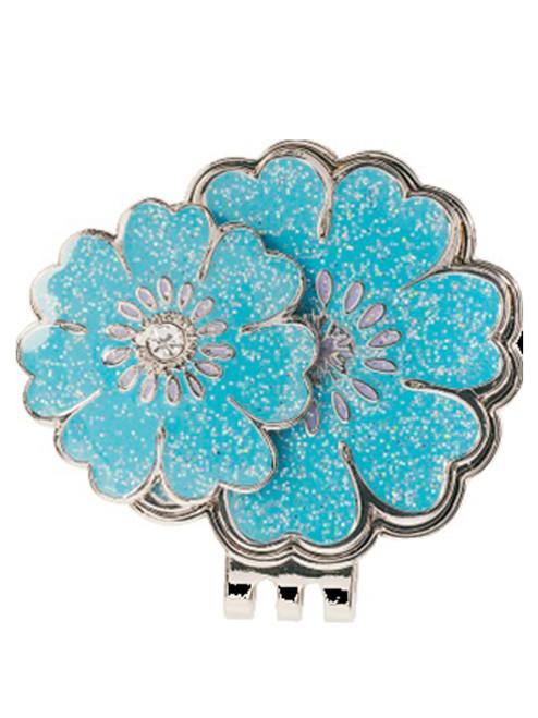 Navika Swarovski Crystal Blue Flower Marker with Clip