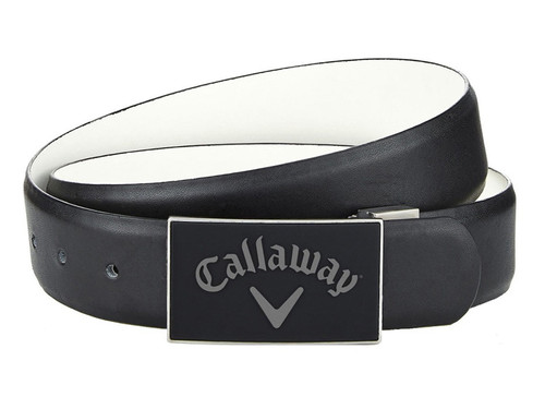 Callaway Reversible Belt With Rubber Buckle - Caviar/White