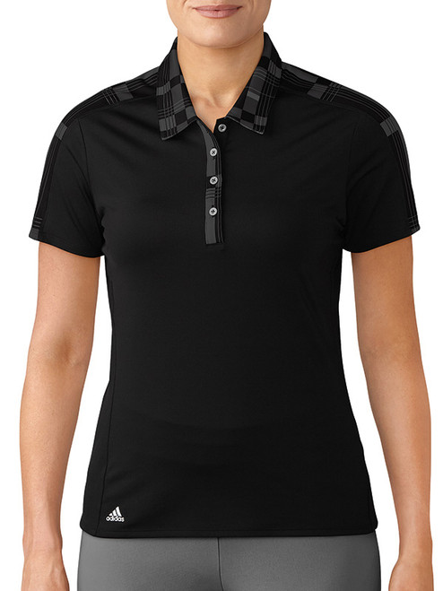 Adidas Ladies Merch Polo - Black/Plaid