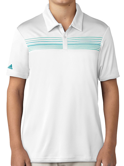 Adidas Junior Boys Climacool Chest Print Polo - White