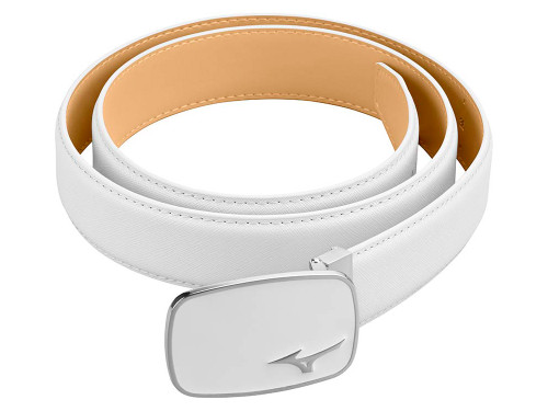 Mizuno Logo Leather Belt - White