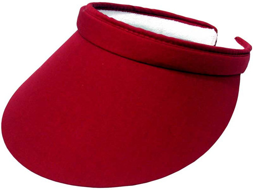 Poppi By Avenel Ladies Clip Visor With Green Under - Red