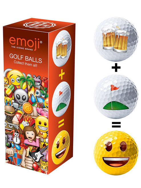Emoji Golf Balls - Golf + Beer = Happy Multi