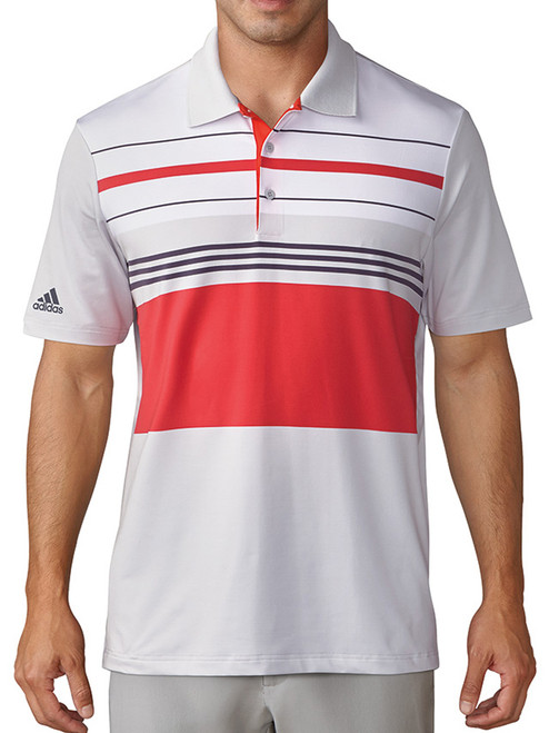 Adidas Ultimate 365 Blocked Polo - Grey One/Hi Res Red