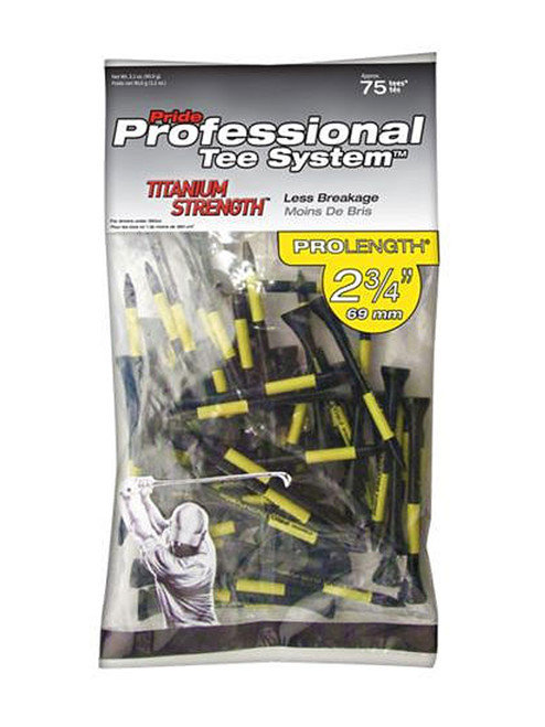 Pride PTS Titanium Tees 75 Pack 2.75 Inch Black/Yellow